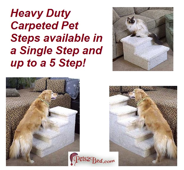 Premier Pet Steps Tall Raised Panel Dog Steps, Carpeted Tread With Stained  Early American, 12 Inch DS2cOEA