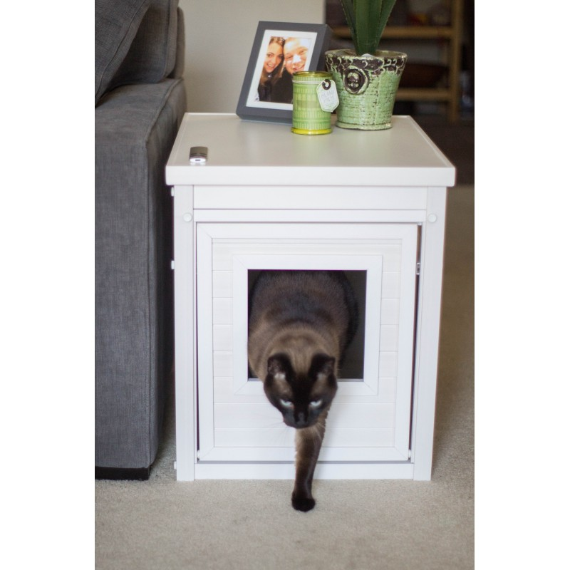 White Litter Loo Cabinet As An End Table With Cat