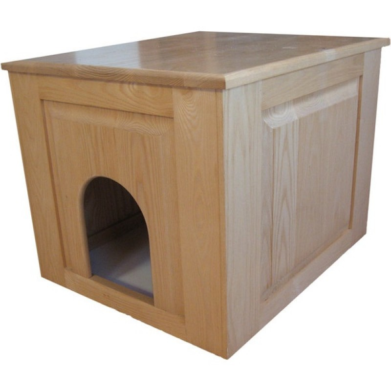 Solid Wood Raised Panel Cat Litter Box With Clear Finish