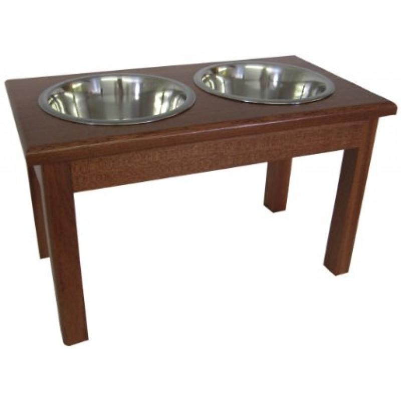 Mahogany Dog Diner - Double Bowl | Malm Woodturnings