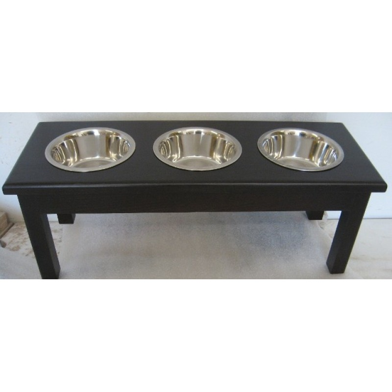 Triple Bowl Wooden Dog Diner | Malm Woodturnings