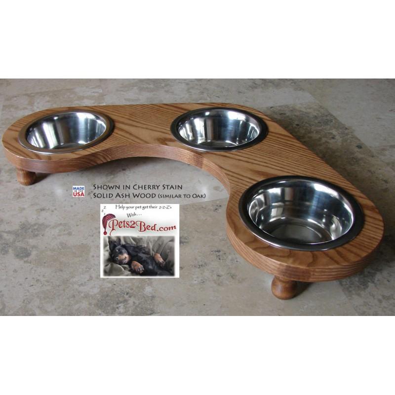 Corner Dog or Cat Diner - Triple Bowl | Malm Woodturnings
