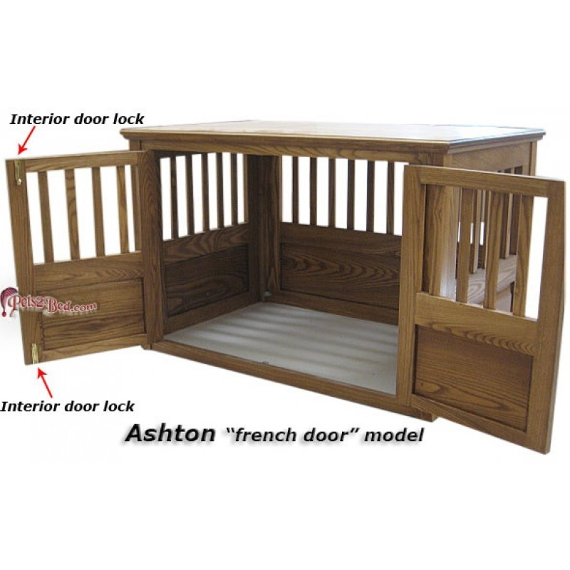 ashton french door wooden dog crate hand made solid ash wood - Wooden Dog Crate End Tables