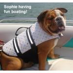 Paws Aboard Designer Louie Pet Dog Life Jacket Vest modeled by Sophie