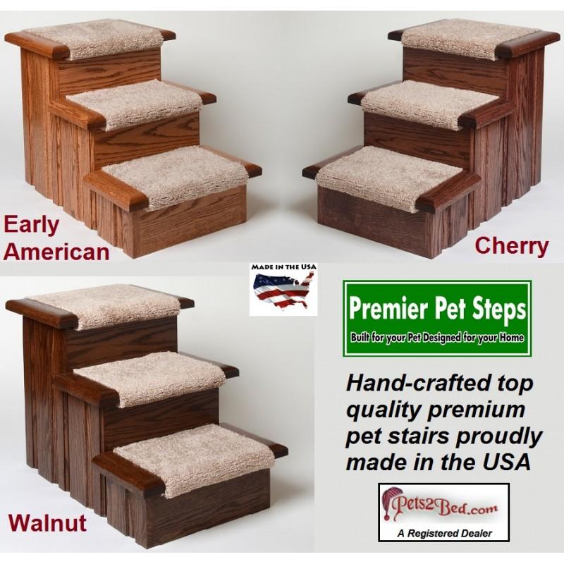 Oak Wood Carpeted Pet Stairs