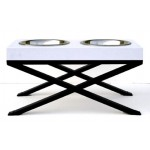 Woodsman Pet Diner shown with White Top and Black Base - bowls included