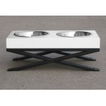 Woodsman Small Pet Diner shown with White Top and Black Base - bowls included