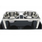 Chariot wrought iron pet diner side view in white