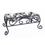 Majesty wrought iron pet feeder - bowls included