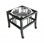 Baron angle iron pet feeder in Black - stainless steel bowl included