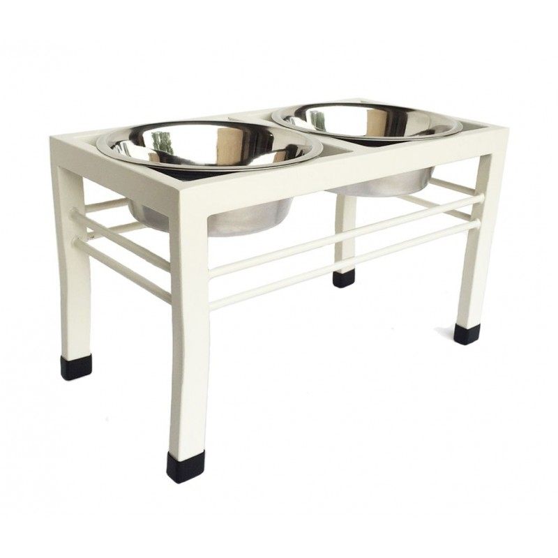 Swan angle iron pet feeder in Beige - stainless steel bowls included