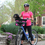 Travelin'K9 Pet-Pilot Dog Bike Basket Carrier with Pink inserts and Dog