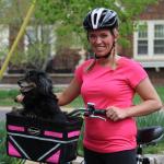 Travelin'K9 Pet-Pilot Dog Bike Basket Carrier shown in Pink5