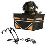 Pet-Pilot MAX dog bike basket carrier in Neon Orange with Mount Bracket