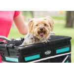 Travelin'K9 Pet-Pilot MAX Bike Basket Carrier with Dog close up - Turquoise insert