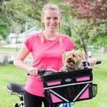Travelin'K9 Pet-Pilot MAX Bike Basket Carrier with Dog close up - pink insert