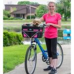 Travelin'K9 Pet-Pilot MAX Bike Basket Carrier with Dog on Bike Ride