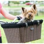 Travelin'K9 Pet-Pilot WICKER Bike Basket Carrier with Dog - top removed