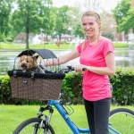 Travelin'K9 Pet-Pilot WICKER Bike Basket Carrier with Top installed and Dog